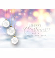 christmas baubles on a defocussed snowy background vector image vector image
