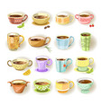 cups with various colorful print set on white vector image