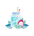 delicious smoothie with lime and pitaya vector image vector image