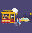 elderly couple shopping in round clock grocery vector image vector image