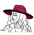 fashionable woman wearing hat sketch outline vector image