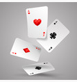 four aces playing cards falling vector image