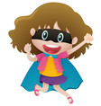 girl wearing mask and cape vector image vector image