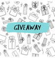 giveaway card with gift boxes pattern vector image vector image