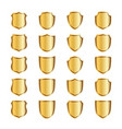 gold shield shape icons set 3d golden emblem vector image vector image