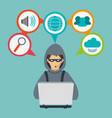 hacker cyber security system design vector image