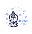 hand drawn christmas lantern with candle vector image vector image