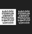 hand drawn ink letters font abc vector image