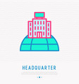headquarter on globe thin line icon vector image vector image