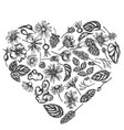 heart floral design with black and white celandine vector image vector image