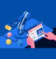 industry 40 conceptengineer hand using tablet vector image