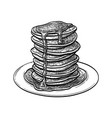 ink sketch pancakes vector image vector image
