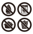 ironing is not allowed no washing machine no vector image vector image