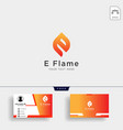 letter e flame logo template with business card vector image vector image