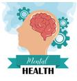 mental health day human profile brain gears vector image vector image