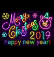merry christmas cute pig neon happy new year 2019 vector image
