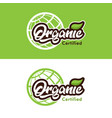 organic certified logo icon vector image vector image