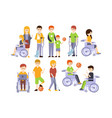 physically handicapped people living full happy vector image vector image