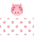 Pig Head Icon And Pattern vector image vector image