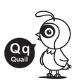 Q Quail cartoon and alphabet for children to vector image vector image