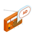 Radio advertising icon isometric 3d style vector image vector image