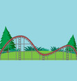 scene with empty roller coaster track in park vector image vector image