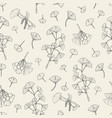 seamless pattern with ginkgo biloba medical vector image vector image