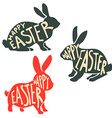set easter rabbit silhouettes with lettering vector image vector image