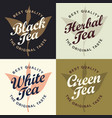 set four banners for different types tea vector image