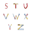 Set watercolor alphabet S-Z of sewing items vector image
