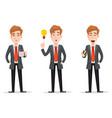 set with handsome businessman in suit vector image vector image