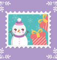 snowman gift boxes snowflakes merry christmas vector image vector image
