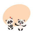 two baby panda characters one pointing to another vector image vector image