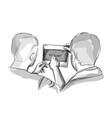 two doctors analyzing xray diagram sketch vector image vector image
