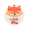 valentines day with cute cartoon fox vector image vector image