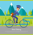 World delivery banner postman mailman on bicycle