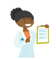 young african-american doctor with a clipboard vector image vector image
