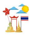 thailand buddha flag temple kite symbol vector image