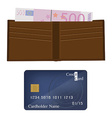 Wallet money and credit card vector image