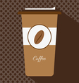 A brown cup of hot coffee with a cap vector image