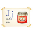 A letter J for jam vector image