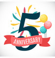 anniversary 5 years template with ribbon vector image