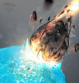 asteroid hitting earth background vector image