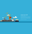 banner with unloading oil from the tanker vector image vector image