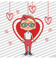 beautiful girl with hearts hanging kawaii vector image vector image