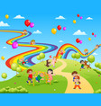 beautiful view full the children playing together vector image vector image