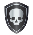 Black shield with skull vector image