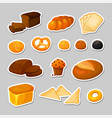 bread stickers set isolated bakery - cartoon vector image vector image