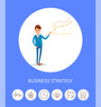 business strategy businessman with charts icons vector image vector image