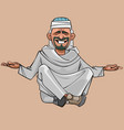 cartoon man in arab clothes sitting vector image vector image